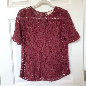 Loft burgundy lace top